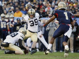 Army kicker Alex Carlton scored Army's only points so far, but he's also missed two field goals. (AP Photo/Matt Slocum)
