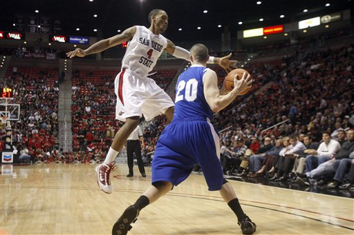 San Diego State's Malcolm Thomas pressures Air Force's Tom Fow. (AP Photo/Lenny Ignelzi)