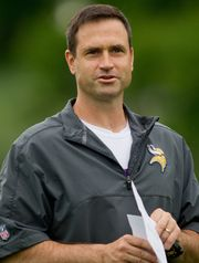 Vikings assistant and Naval Academy grad Mike Priefer (USA Today Sports photo)